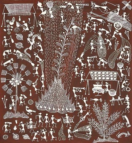 Amazon holi festival warli painting on cotton fabric folk holi festival warli painting on cotton fabric folk art of the warli tribe thecheapjerseys Gallery