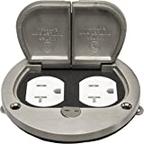 Enerlites 705503-S 4'' Hinged Floor Box Cover, 20A Duplex Tamper with weather Resistant Receptacle, 975503-S, Nickel Plated Brass