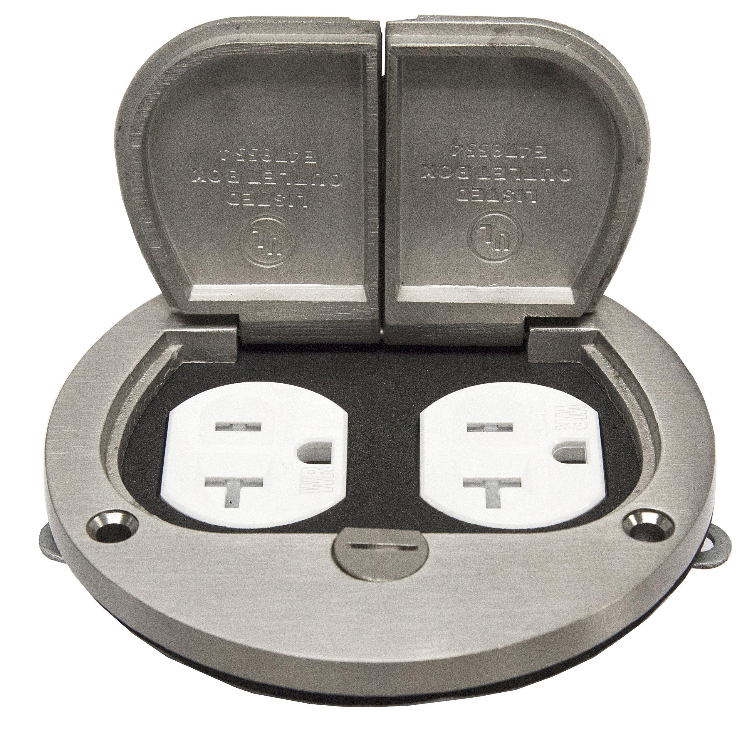Enerlites 975503-S 4''  Nickel Plated Brass Hinged Floor Box Cover, 20A Duplex Tamper-Weather Resistant Receptacle