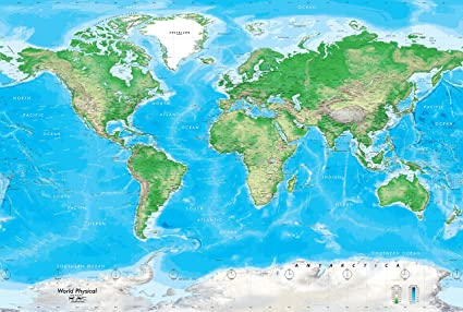 Academia maps world map wall mural detailed blue ocean physical academia maps world map wall mural detailed blue ocean physical map premium self gumiabroncs Gallery