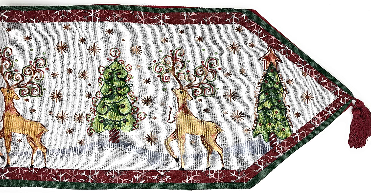 Tache Winter Forest Reindeer Antique Vintage Christmas Eve Snowflakes Holiday Season White Decorative Woven Tapestry Table Runners, 13x54