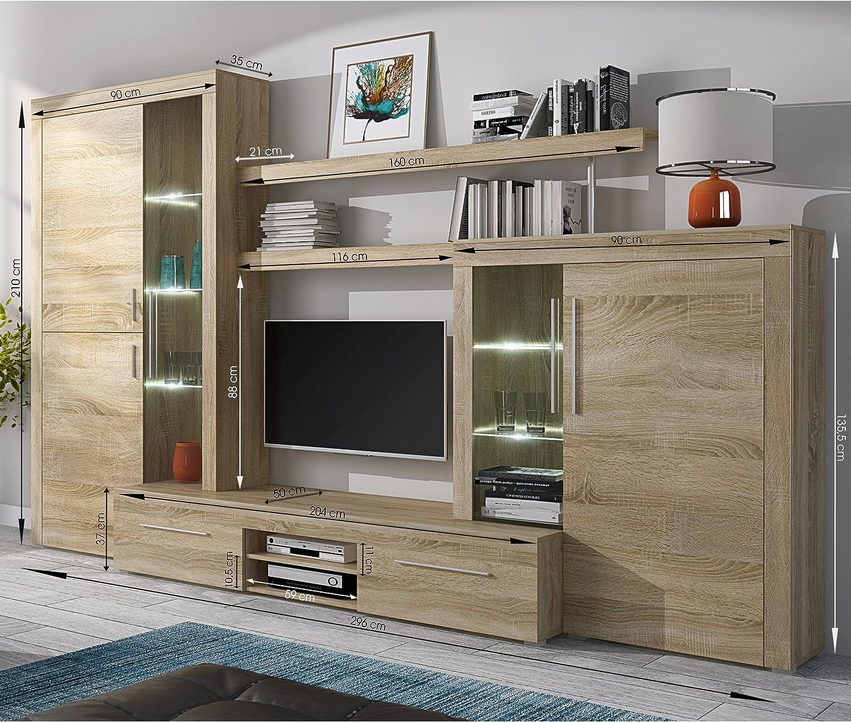 Homely - Mueble de salón Modular Menorca Mueble TV y vitrinas Color Roble Sonoma de 296 cm: Amazon.es: Juguetes y juegos