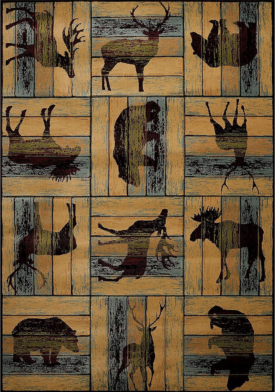 "Westfield Home Wildwood Animal Blocks Hand-Carved Area Rug 5'3"" x 7'6"" 5' x 8' Indoor Rectangle"