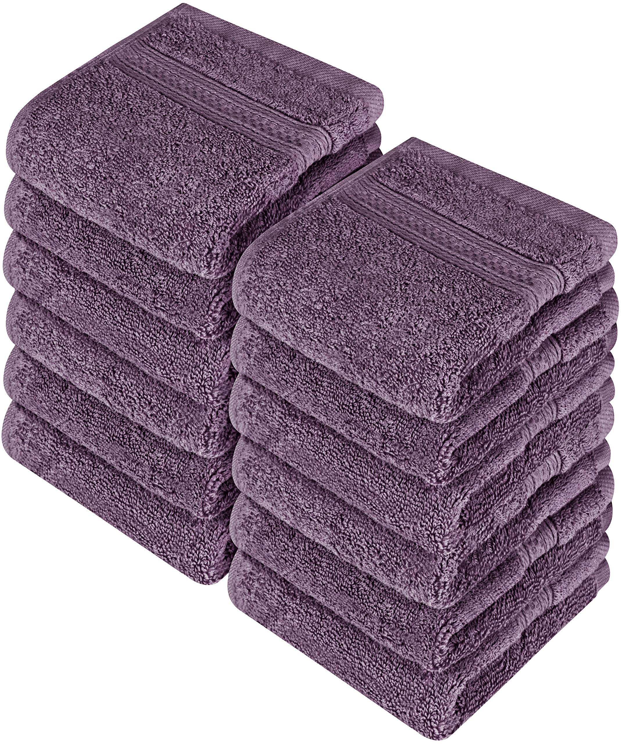 Utopia Towels Premium 252 Pack 700 GSM Cotton Washcloths Bulk– (12 x 12 Inches Face Towels Bulk) Extra Soft Wash Cloths, Plum