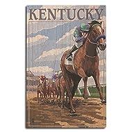 Kentucky - Horse Racing Track Scene (10x15 Wood Wall Sign, Wall Decor Ready to Hang)
