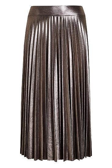 next Mujer Falda Plisada Metalizada Estaño EU 50 (UK 22): Amazon ...