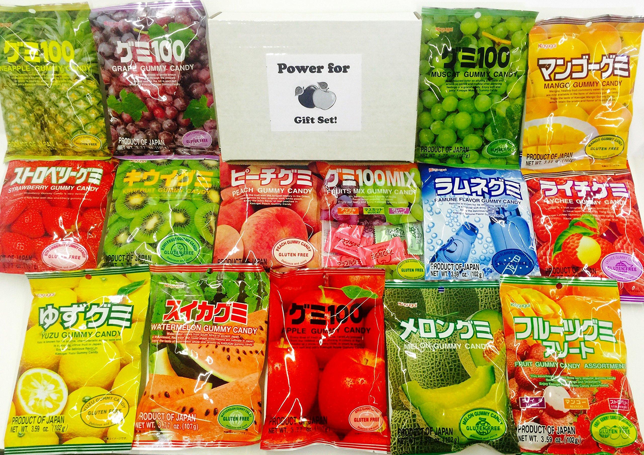 Kasugai Gummy Party Pack 15x3.59oz (15 Bags At least 12 Flavors), Lychee, Mango, Peach, Strawberry, Grape, Kiwi, Melon, Pinapple, Apple, Watermelon, Lemon, Ramune, and More!