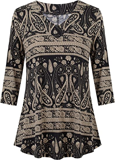 Womens Plus Size Long Sleeve Ladies Stretch Collar Flared Swing Dress Long Top