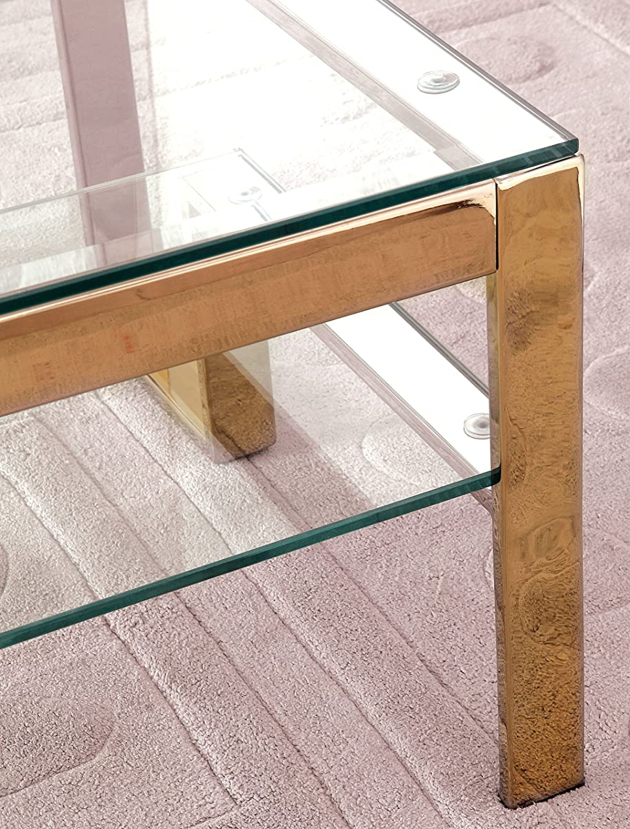 HOMES: Inside + Out IDF-4163GL-C Davina Champagne Dual Glass Shelf Coffee Table