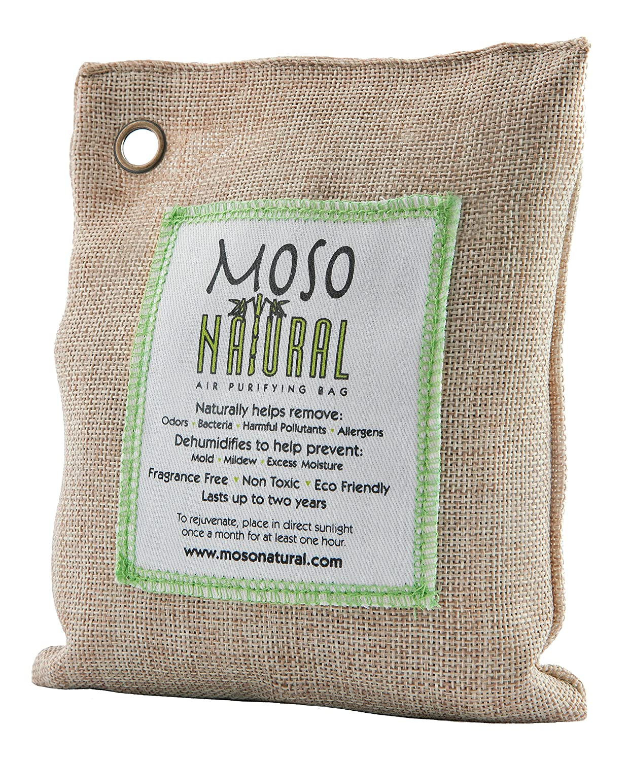 Moso Natural Air Purifying Bag. Odor Eliminator for Cars, Closets, Bathrooms and Pet Areas. Green Color, 200-G MB2580