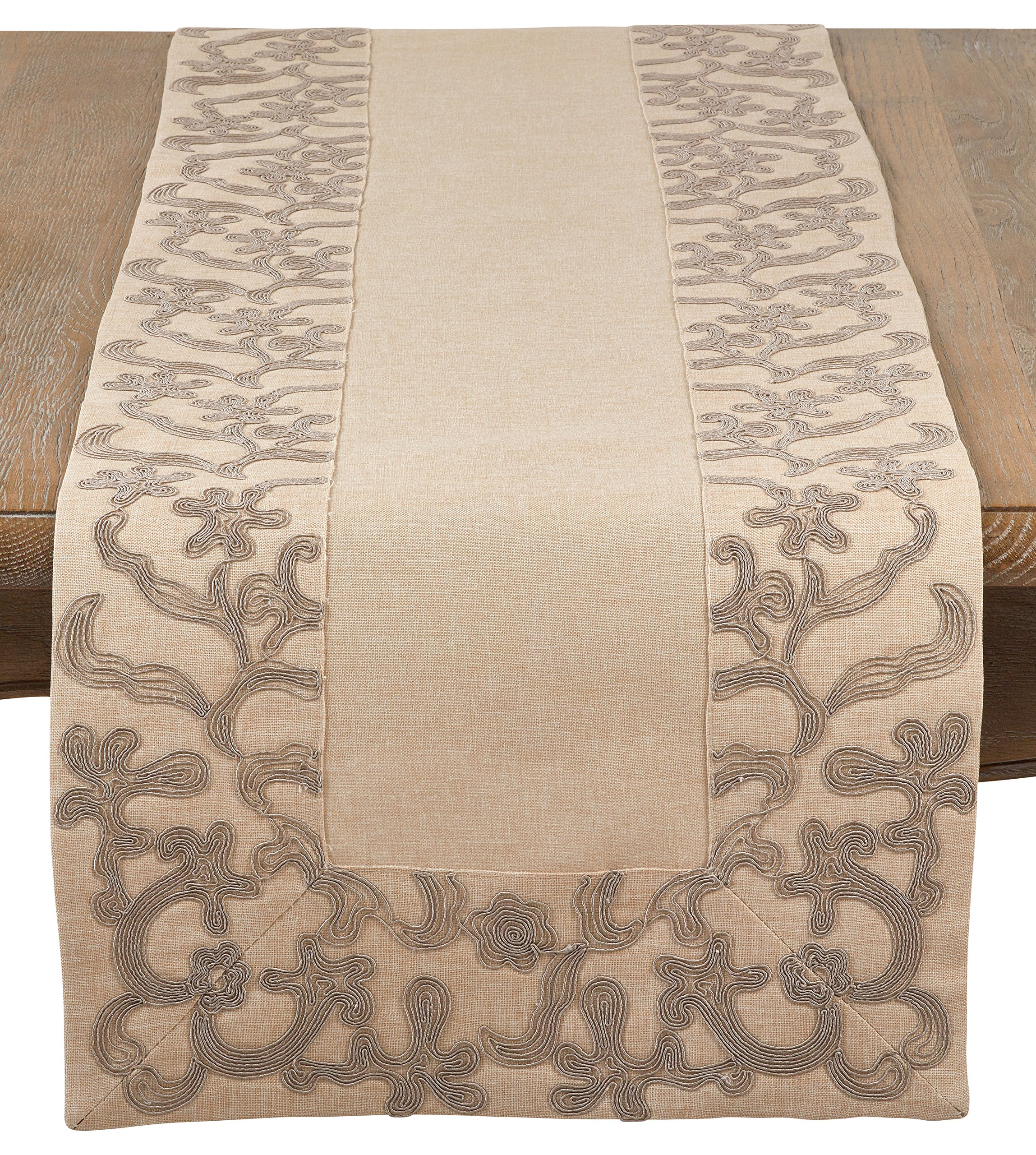SARO LIFESTYLE Floral Embroidered Border Design Table Runner, 16'' x 72'', Natural