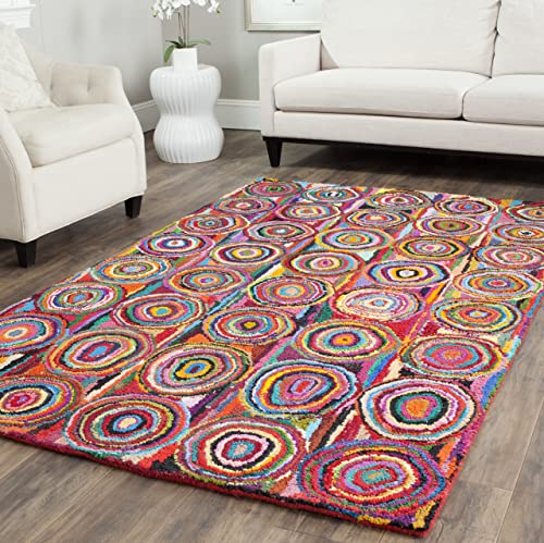 Safavieh Nantucket Collection NAN143A Handmade Abstract Geometric Pink and Multi Cotton Area Rug 9 x 12