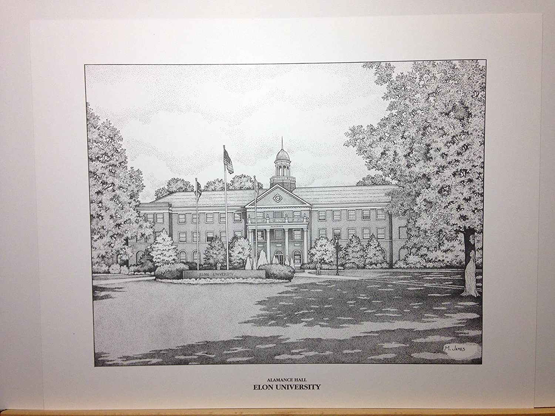 Elon University pen and ink 11x14 print