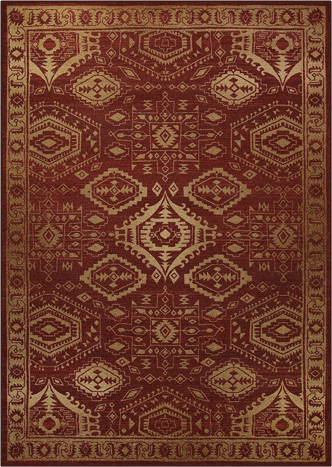 Maples Rugs Area Rug - Georgina 7 x 10 Large Area Rugs [Made in USA] for Living Room, Bedroom, and Dining Room, Red/Gold