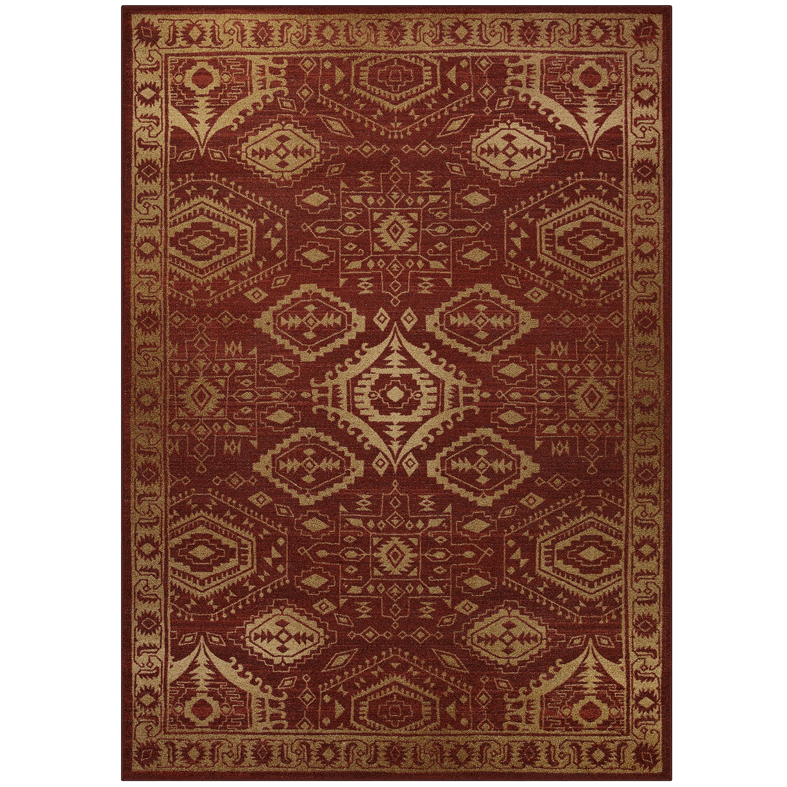 Area Rugs, Maples Rugs [Made in USA][Georgina] 7' x 10' Non Slip Padded Large Rug for Living Room, Bedroom, and Dining Room - Red/Gold