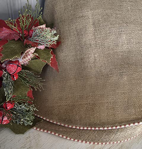 Burlap Christmas Tree Skirt With Red And White French Ticking Large Rustic
