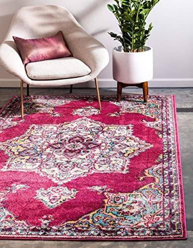 Unique Loom Medici Collection Floral Medallion Traditional Vintage Pink Area Rug 5 0 x 8 0