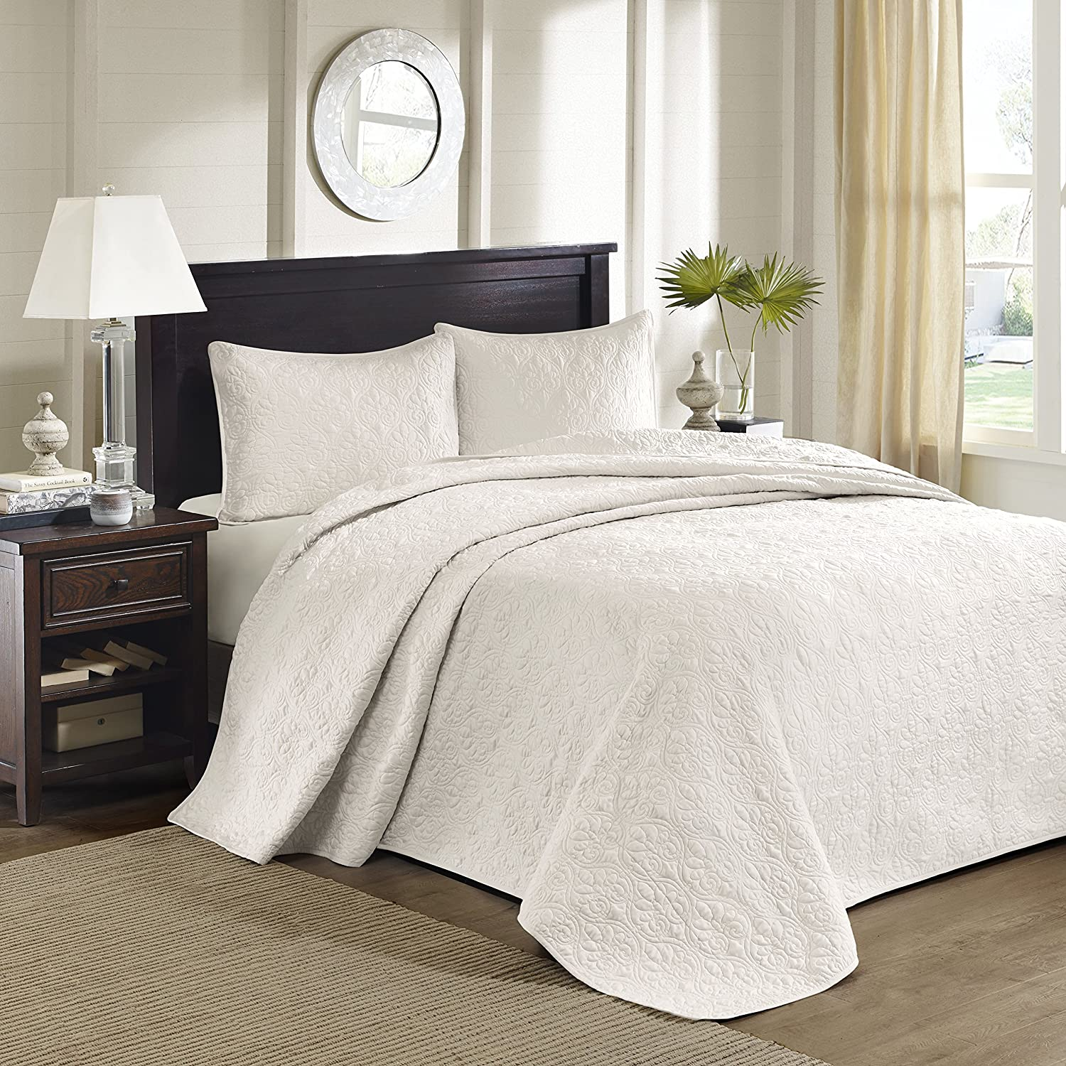 Amazon.com: Madison Park Quebec 3 Piece Bedspread Set, King, Ivory: Home U0026  Kitchen