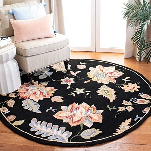 "Safavieh Chelsea Collection HK306B Hand-Hooked Black Premium Wool Round Area Rug 5'6"" Diameter"