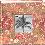 Pioneer Photo Albums 200-Pocket Hibiscus Design Fabric Frame Cover Photo Album for 4 by 6-Inch Prints