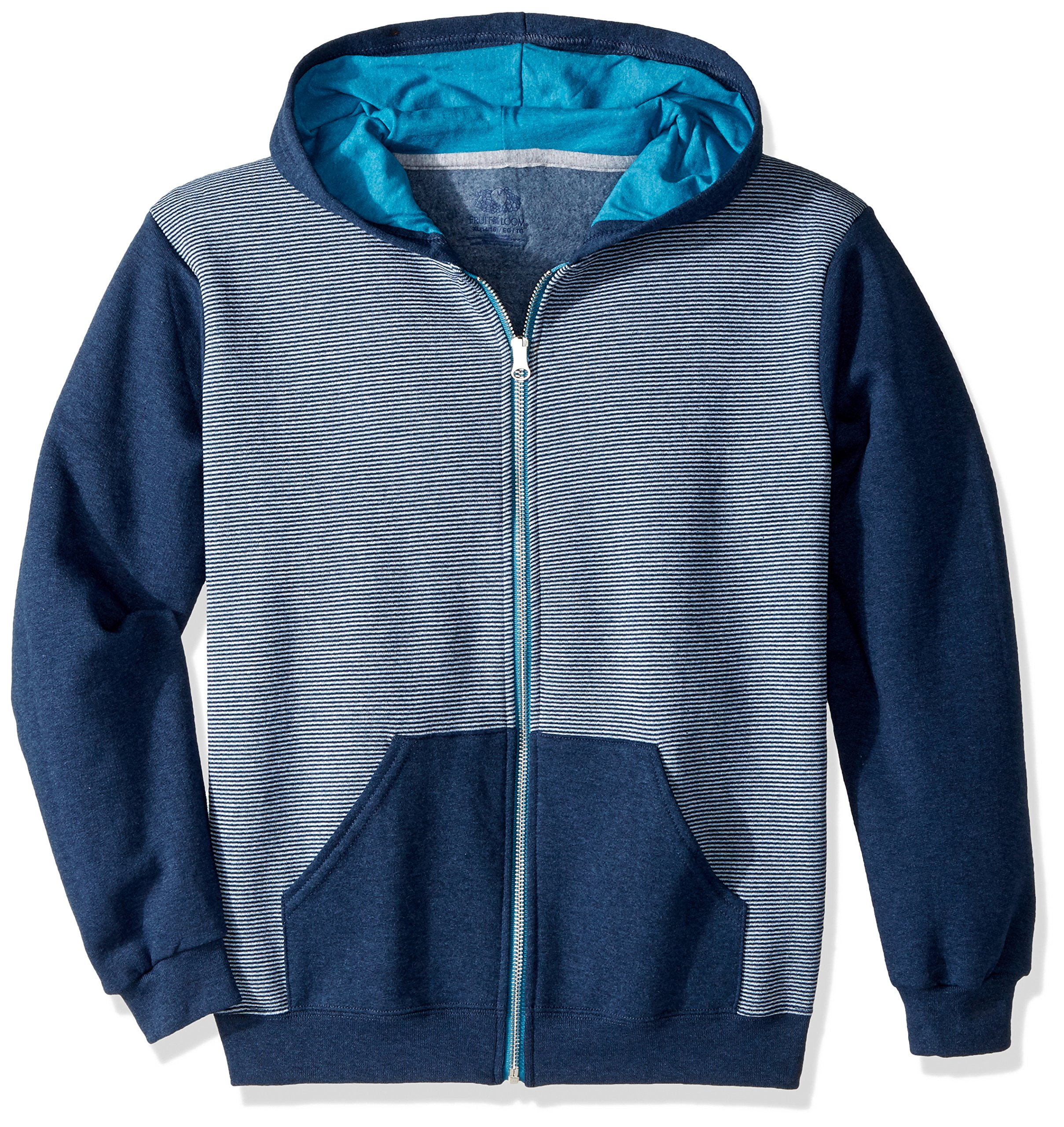 Fruit of the Loom Big Boys' Explorer Fleece Give Me S'More Warmth Hoodie, Smoke Blue Stripe/T.Blue Heather/Amulet Teal Heather, Large