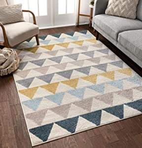 Well Woven Lincoln Modern Scandinavian Triangles Geometric Gold & Blue Area Rug 5x7 (5'3