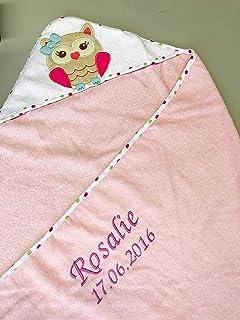 Toalla con capucha para bebé, bordada con nombre y fecha de nacimiento, 100 x