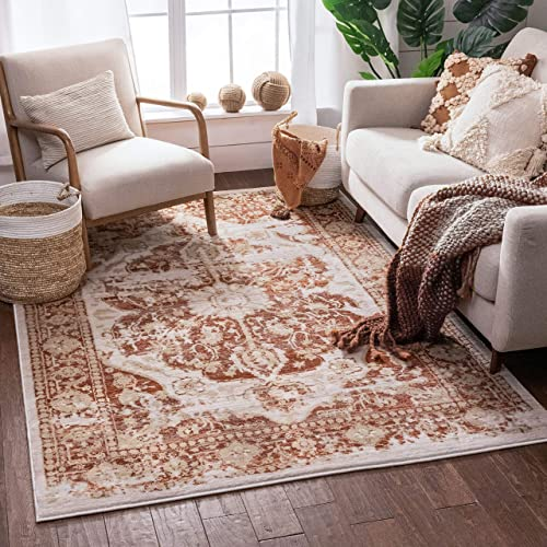 Well Woven Millie Tribal Copper Medallion 9×13 9'3'' x 12'6'' Area Rug Pink Red Gold Modern Distressed Oriental Carpet