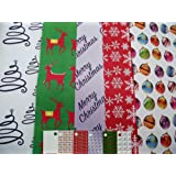 10 SHEETS OF MODERN - CONTEMPORARY CHRISTMAS WRAPPING PAPER - SNOWFLAKE - CHRISTMAS TREE - STARS - BAUBLES - REINDEER & 5 GIFT TAGS (2 sheets of 5 designs)