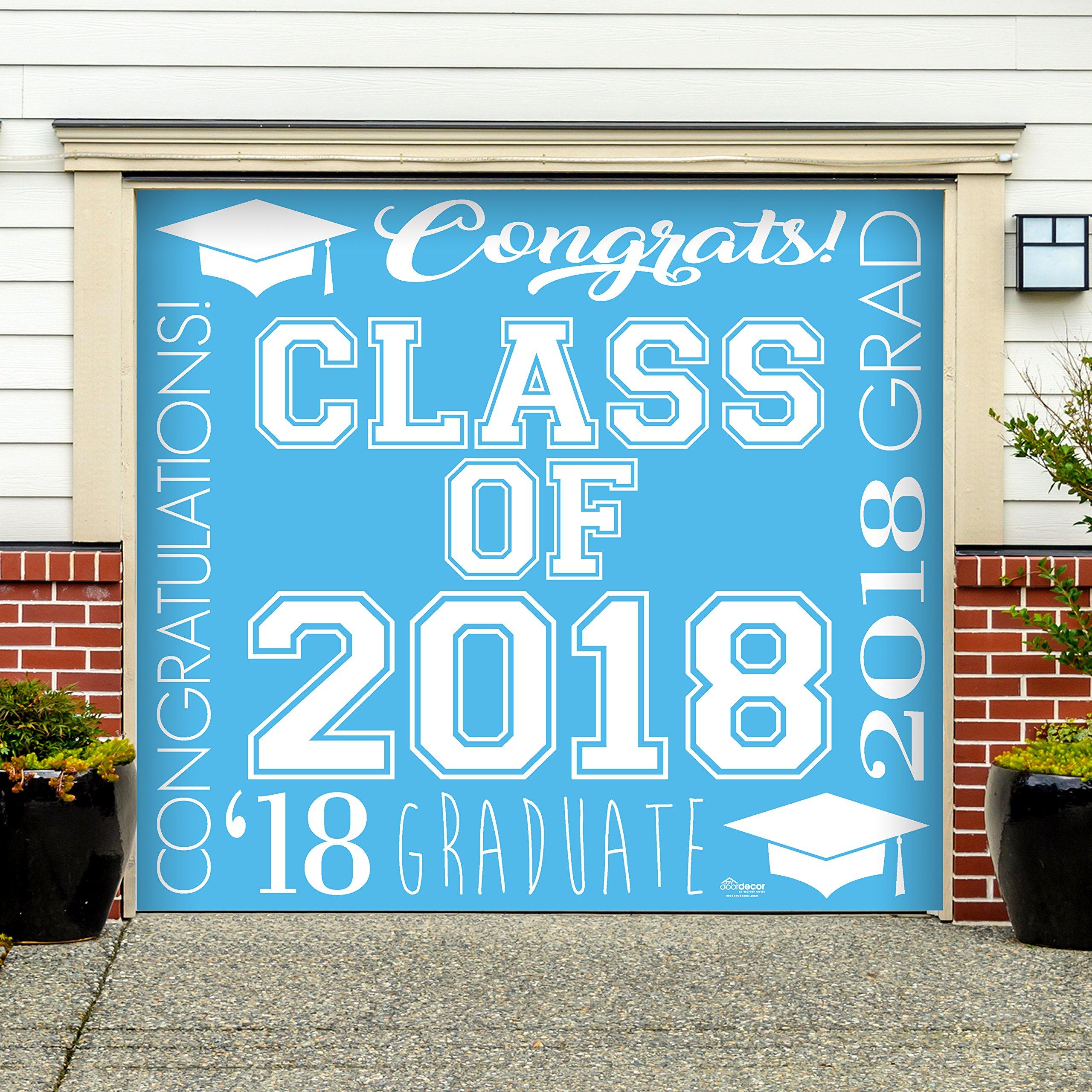 Victory Corps Collage Light Blue - Outdoor Graduation Garage Door Banner Mural Sign Décor 7'x 8' Car Garage - The Original Holiday Garage Door Banner Decor