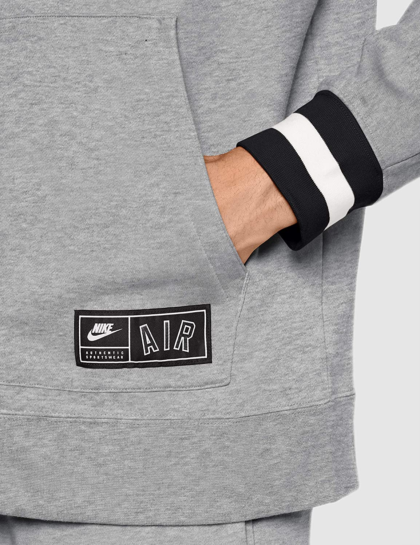 Nike Herren M NSW Air Hoodie Fz FLC Sweatshirt Dk Grey Heather/Black