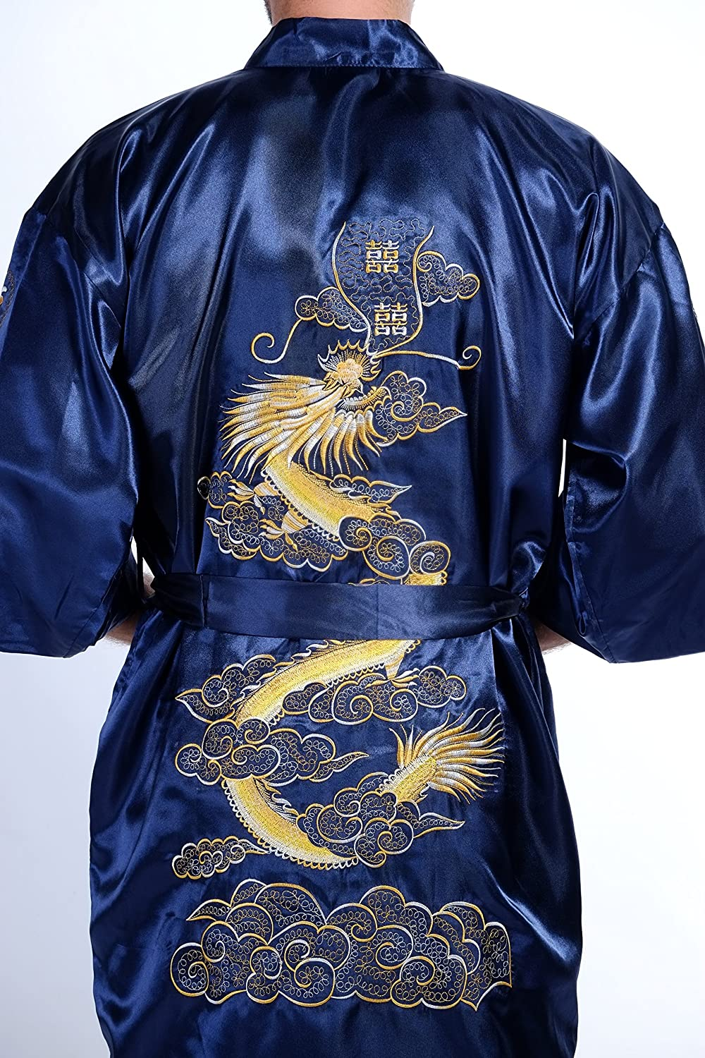 Mens Silk Bath Robe Kimono Dragon Embroidery