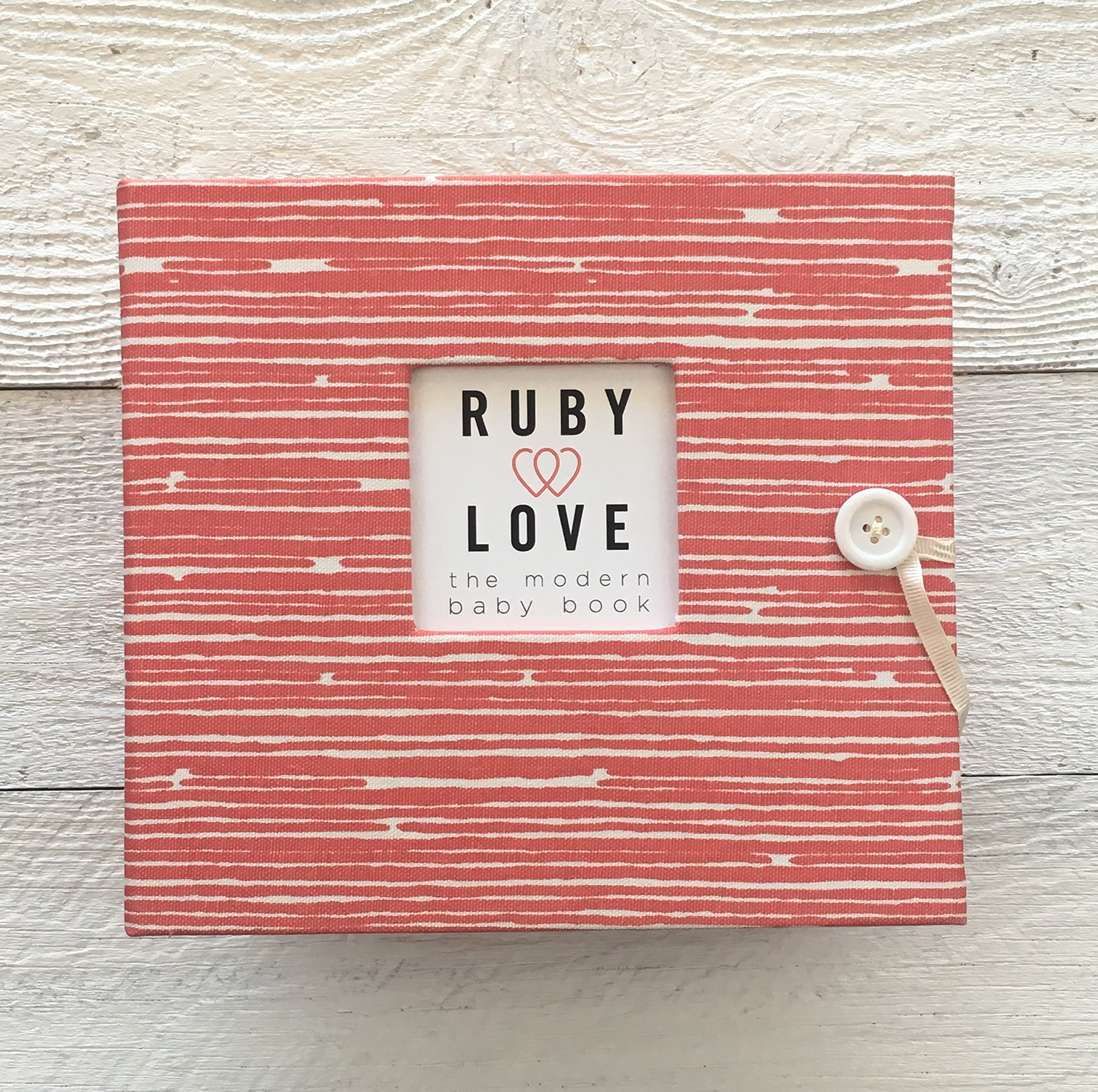 Woodsy Stripe Baby Memory Book (Coral)