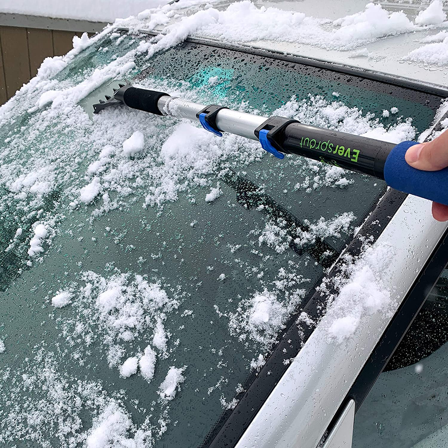 Windows Ice Roof | 8-10 Ft Reach Easily Remove Frost EVERSPROUT SnowBuster 1.5-to-4 Foot Kit with Extension-Pole Snow Long Handle for SUV//Truck//Car Windshield Ice Scraper, Snow Brush, Pole
