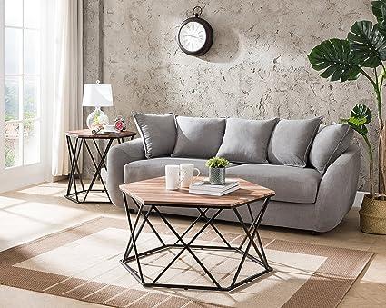 Amazoncom Reclaimed OakMetal Frame Hexagon Coffee Table By - Hexagon cocktail table