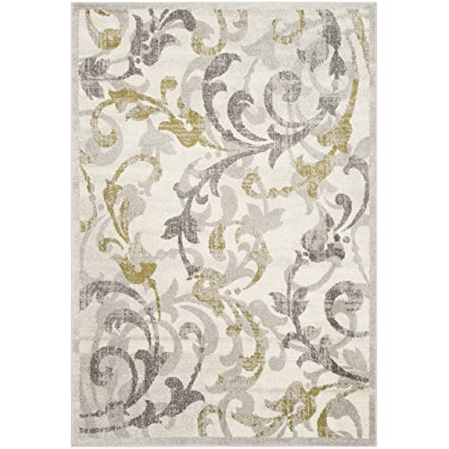 Safavieh Amherst Collection AMT428E Floral Scroll Area Rug, 6 x 9 , Ivory Light Grey
