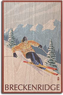 product image for Lantern Press Breckenridge, Colorado - Downhill Skier (10x15 Wood Wall Sign, Wall Decor Ready to Hang)