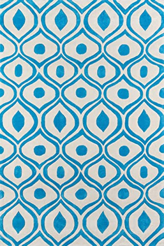 Momeni Rugs Bliss Collection, Hand Carved Tufted Contemporary Area Rug, 3 6 x 5 6 , Blue