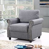 Classic Living Room Linen Armchair with Nailhead Trim and Storage Space (Light Grey)