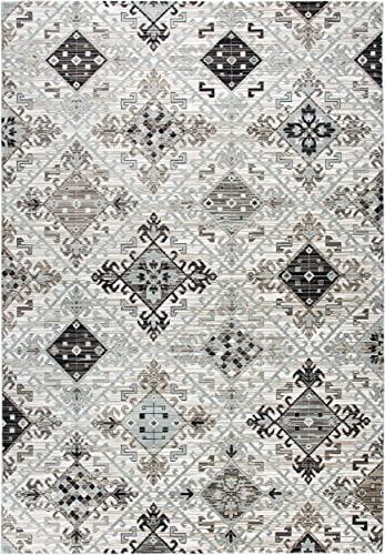 Rizzy Home Zenith Collection Polypropylene Area Rug, 9 10 x 12 6 , Ivory Beige Taupe Black Sage Green Geometric