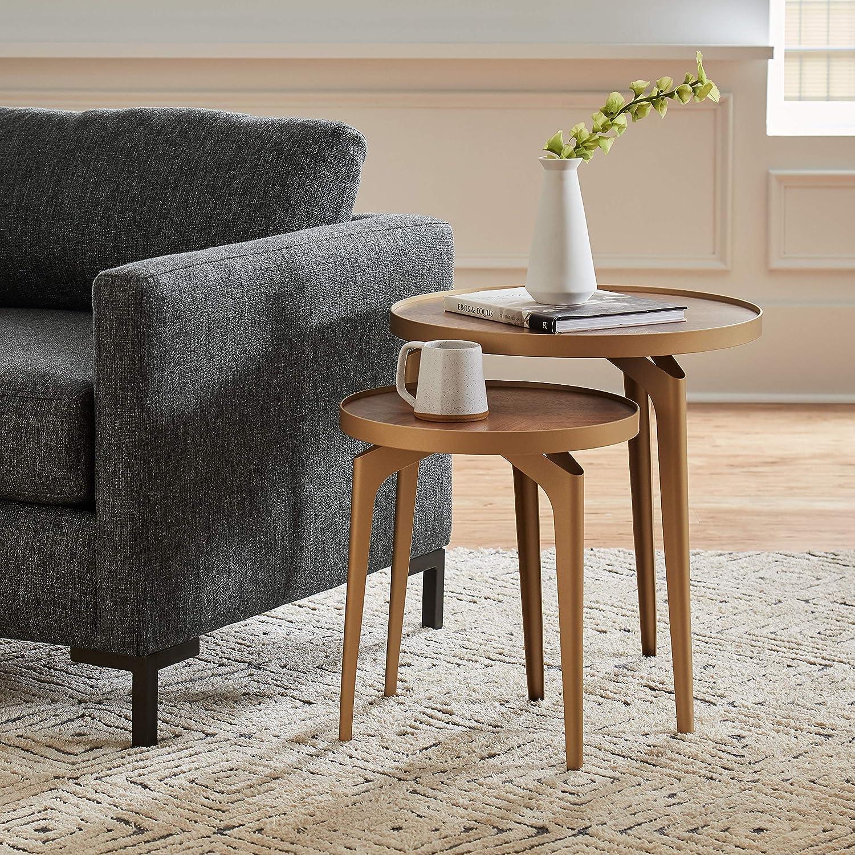 Brand – Rivet Mid-Century Nesting Metal Side Table, Set of 2, Brass and Walnut: Furniture & Decor