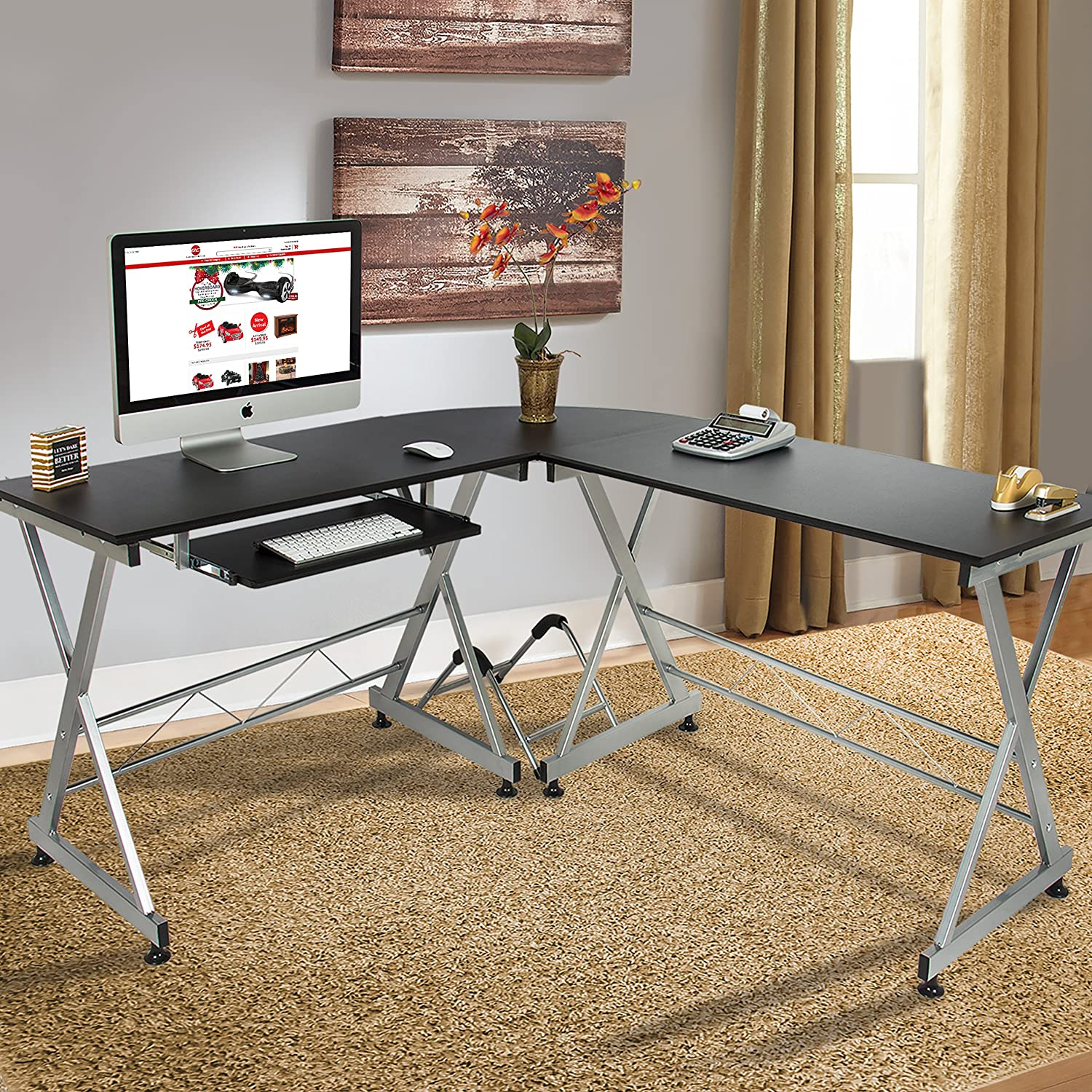 Office Computer Desk Part - 23: Amazon.com: Best Choice Products Wood L-Shape Corner Computer Desk PC  Laptop Table Workstation Home Office Black: Home U0026 Kitchen