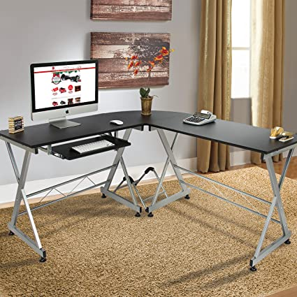 Bon Best Choice Products Wood L Shape Corner Computer Desk PC Laptop Table Workstation  Home Office
