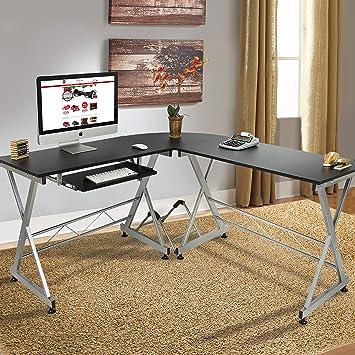 Best Choice Products Wood L Shape Corner Computer Desk PC Laptop Table Workstation Home Office