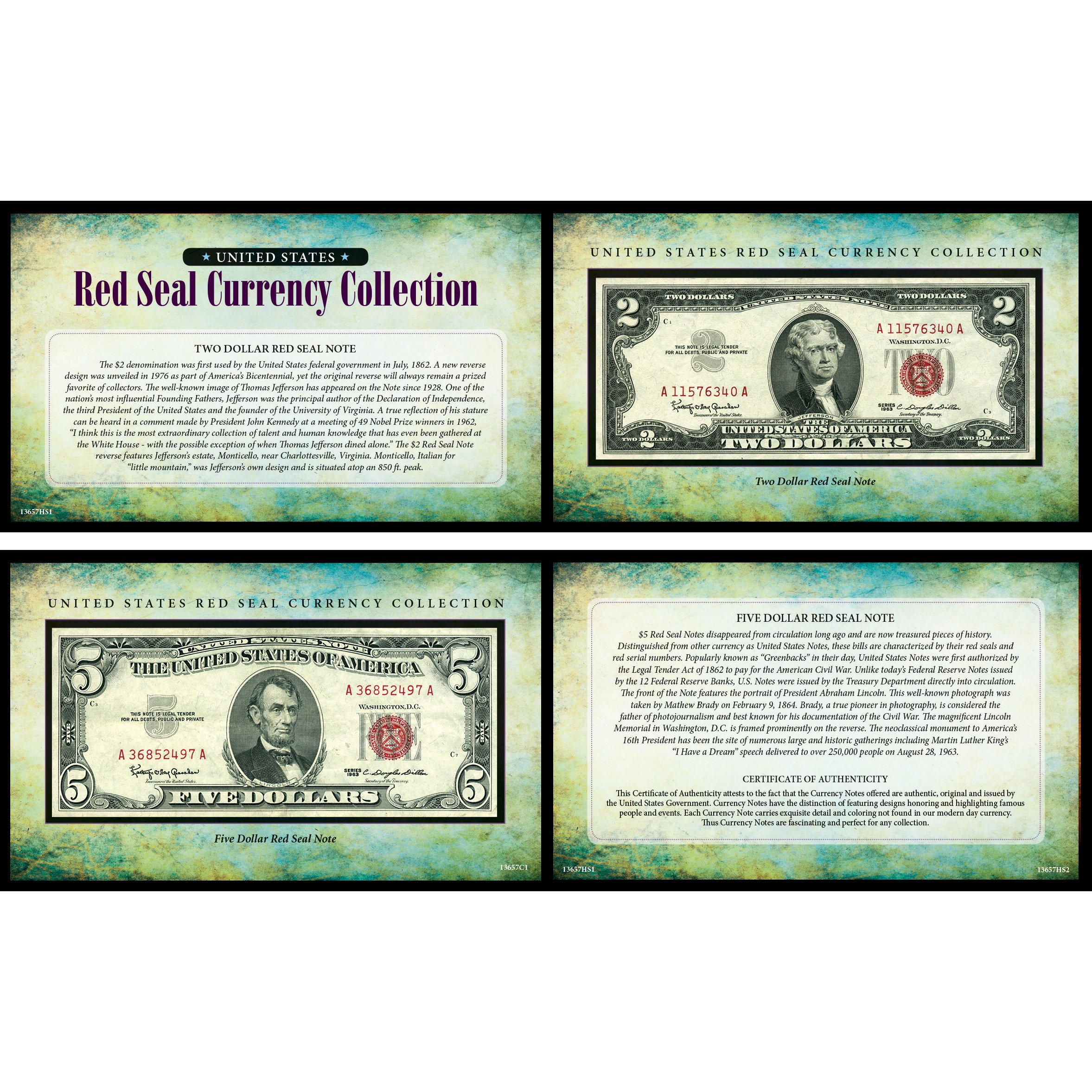 American Coin Treasures U.S. Seal Note Currency Collection, Red