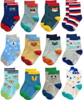 B/&S FEEL Dinosaur Pattern Baby Boy Cotton Socks Pack of 10
