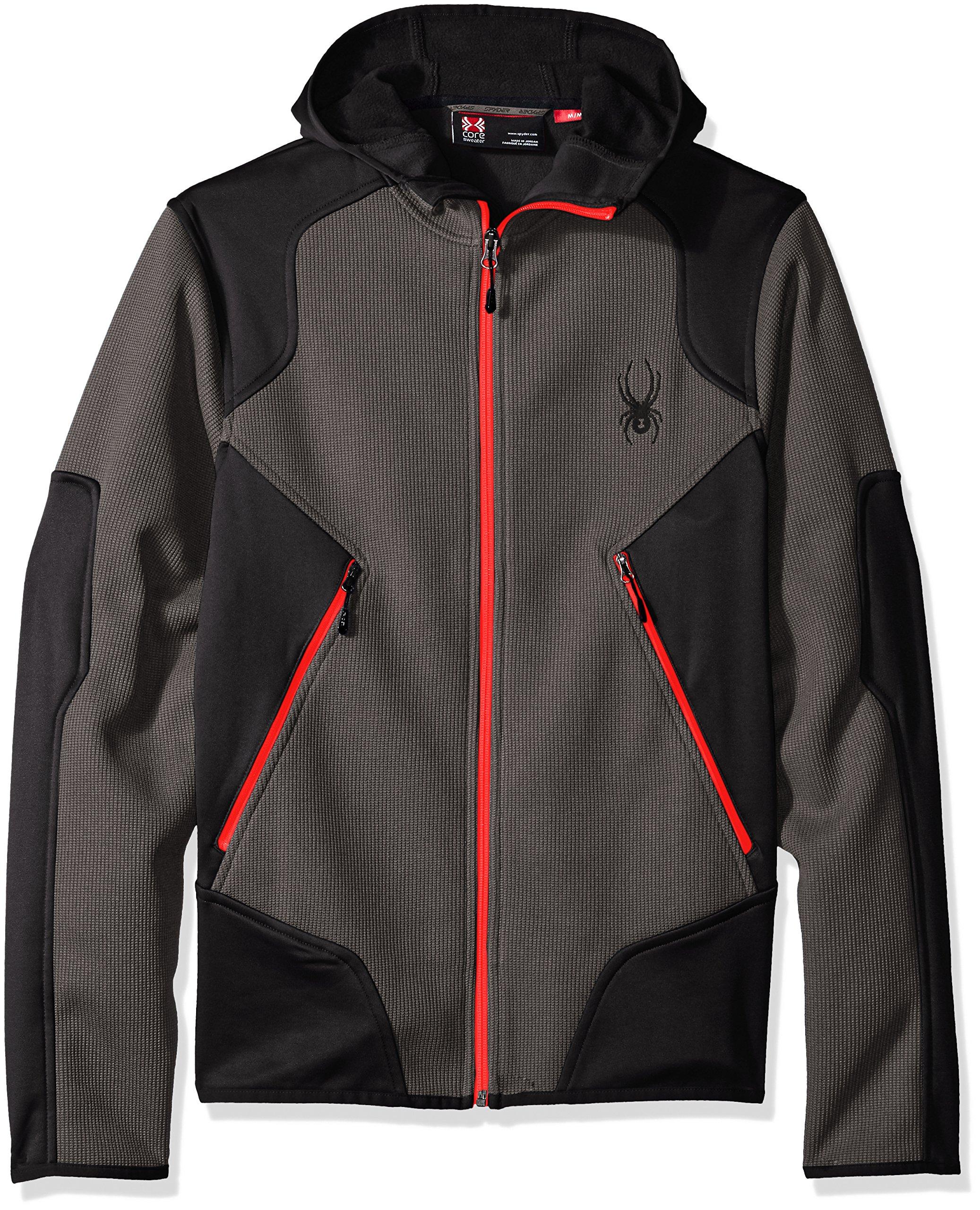 Spyder Men's Sanction Light Weight Stryke Fleece Hoody, Polar/Black/Red, Medium