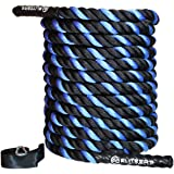 Premium Battle Rope Kit - EliteSRS Fitness - Anchor Strap, Long Grip-Right Handles & Sleeve Protector - Poly/Dacron 30ft/40ft/50ft Heavy Workout Rope - Won't Shed - Strength and Conditioning