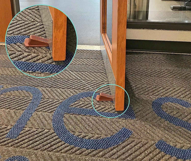 Rubber Door Stoppers Large Heavy Duty Flexible Door Holder Non Marking Anti Slip Jammer Black 4 Pack Door Stop Wedge