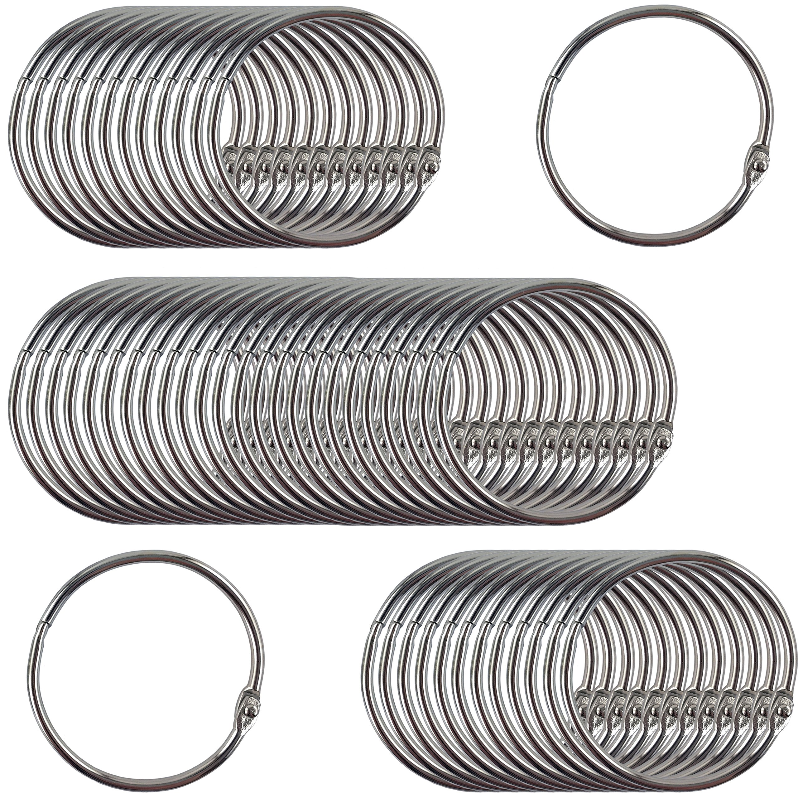 Clipco Book Rings Large 2-Inch Nickel Plated (50-Pack) by Clipco